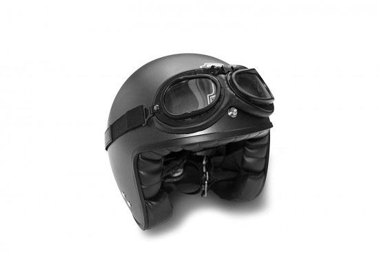 Bertoni Vintage Aviator Motorcycle Goggles Matt Black Anticrash Photochromic Lenses - F195PH Pilot Over Helmets Goggles