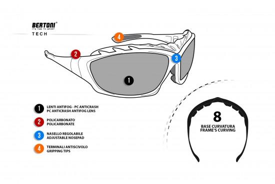 Bertoni Occhiali Sportivi Antivento Avvolgenti per Moto e Sport Estremi - Clip Ottica Amovibile per Lenti da Vista - Lente Antifog - Aste ed Elastico intercambiabili - by iWear Italy - AF366A