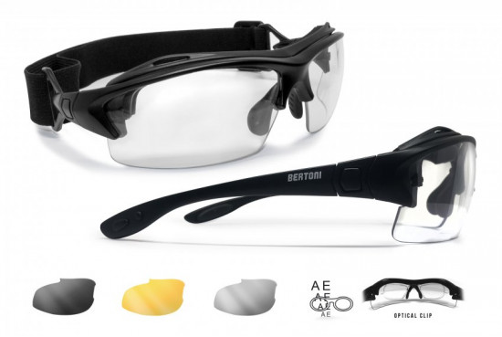 Sport Prescription Glasses and Goggles – 3 Interchangeable Antifog Lenses - Removable Clip for Pescription Lenses - Interchangeable Arms and Strap – AF399A by Bertoni Italy