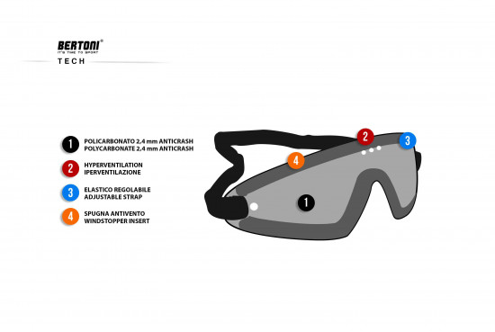 Bertoni Occhiali Sportivi da Vista Antivento Avvolgenti a Mascherina con Lenti Antifog per Moto MTB Sci Parapendio Skydive - Clip Ottica da Vista MOD. AF79D