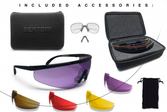 Bertoni Shooting Glasses with 4 Interchangeable Lenses and Carrying Case – AF899 by Bertoni Italy Tactical Protective Safety Glasses with RX Optical Prescription Carrier - Shiny Black