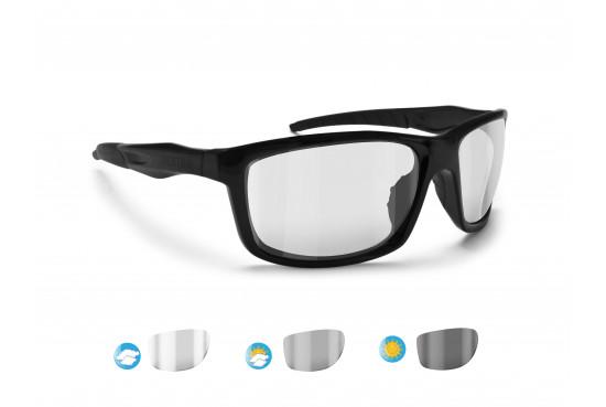 Sports Photochromic Sunglasses for Running Ski Motorcycle by Bertoni Italy - ALIEN F01 Shiny Black
