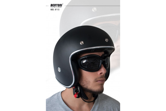 Motorcycle Goggles for Helmets - Photochromic Ventilated Antifog Lens - Adjustable Strap - Mat Black - by Bertoni Italy F113A