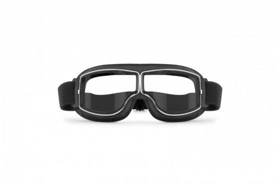 Bertoni Aviator Motorcycle Vintage Goggles Photochromic Lenses F188PH Motorbike Sunsensor Black Leather Glasses for Helmets
