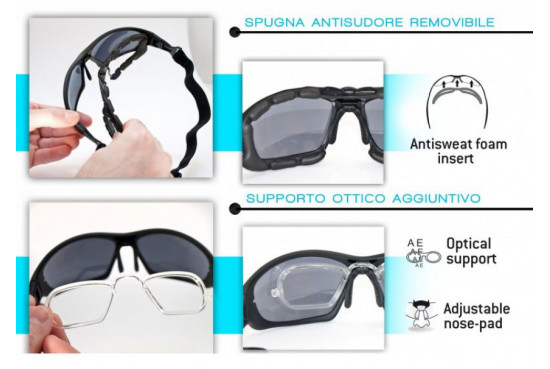 Bertoni Italy Motorcycle Goggles Padded Sunglasses - Photochromic Antifog Lens - Removable Clip for Prescription - Interchangeable Arms and Strap - F366A Motorbike Bikers Glasses