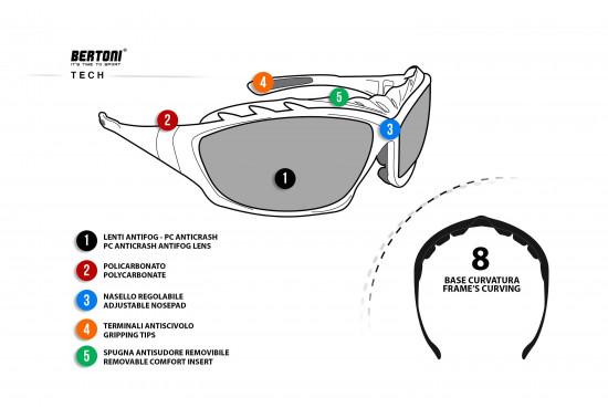Occhiali Fotocromatici per Moto Sci Skydiving Sport Estremi - Astine intercambiabili con banda elastica - lenti antiappannanti by Bertoni Italy F366A