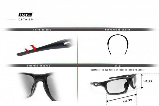 Sport Sunglasses for Cycling Running Ski Motorcycle Cycling Fishing – mod. OMEGA B by Bertoni Italy