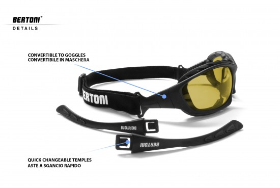 Bertoni Italy Motorcycle Goggles Padded Sunglasses - Photochromic Polarized Lens - Removable Clip for Prescription - Interchangeable Arms and Strap - P366FTA Motorbike Bikers Glasses