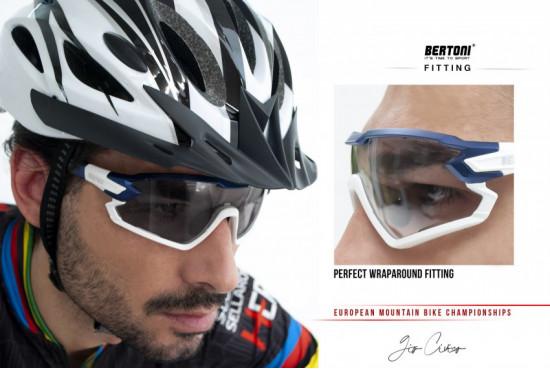 Occhiali sportivi per Ciclismo Running MTB Sci Sport mod. Quasar con Clip da Vista – montatura in TR90, struttura polimerica made in Swiss estremamente leggera e resistente Bertoni QUASAR B02